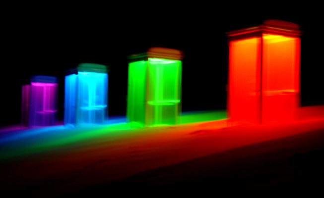 solo - Light installation, Gutenbrunn, Austria, 2007, photo: Dieter Juster